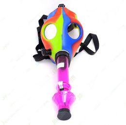 Wholesale Mask Lights - Rich Color Silicon Mash Creative Acrylic Smoking Pipe Gas Mask Pipes Acrylic Bongs Tabacco Shisha Pipe Free Shipping