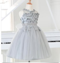 Wholesale Silver Beads For Clothes - Baby Kids Silver tulle Princess Girl Party Dresses Bead Appliques Tutu Wedding Dress for Christmas Kids Birthday clothes 12M-12Y