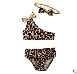 Wholesale Toddler Two Piece Swimsuits - Children swimsuits toddler leopard grain bikini swimming kids BOWS one shoulder swimwear+briefs 2pcs sets baby girls beachwear R0636