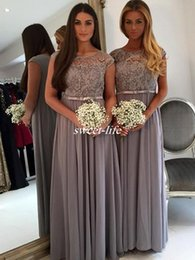 Wholesale Long Dark Grey Bridesmaid Dresses - Floor Length Lace Appliques Grey Long Chiffon Bridesmaids Dresses 2017 A Line Plus Size Simple Cheap Summer Beach Party Maid of Honor Gowns