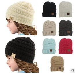 Wholesale Top Baby Beanie Hats - Winter Knitted Caps Baby Hat Top Quality Unisex Girl Boy Kids Folds Casual Beanies Solid Color Hip-Hop Skull Caps 982