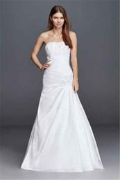 Wholesale Straight Strapless Wedding Dress - Plus Size Strapless Side Draped Wedding Dress OP1247 Elegant Beauty Straight Neckline Dropped Waistline Bridal Dress