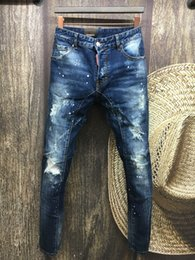 Wholesale 36 Holes - N0.A112 MAN 2016 Summer men's Slim jeans shorts hole patch jeans locomotive times throwing paint beach pants BLUE