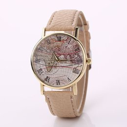 Wholesale World Map Wrist Watch - Womens luxury brand Retro World Map Design Leather Alloy bracelet watches Analog Quartz Wrist Watch relojes mujer Factory price
