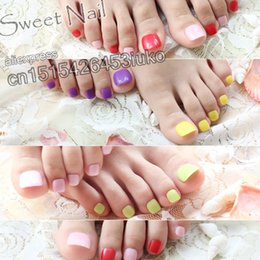 Wholesale Acrylic Red Nail Tips - Wholesale- 24PCS fashion design cute toes latest French style candy colorful fake toe Shiny red #P81