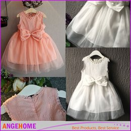 Wholesale Beaded Prom Gowns Wholesale - 2016 summer New Girls Lace Gauze Bow Vest Dress Dresses Girl Prom Dresses Summer Princess Dress