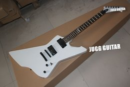Wholesale Solid Body Guitar Making - Custom Explorer Snake Byte James Hetfield Signature White Electric Guitar Rosewood Fretboard 9V Battery Active EMG Pickups (Made In China)