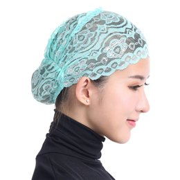 Wholesale Head Covers Beanies - Women Hijab Hat Lace Ninja Underscarf Head Islamic Cover Bonnet Cap Scarf Muslim Keep Warm Winter Hats For Women Beanies Muslim