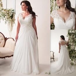 Wholesale Dresses Bride Plus - Plus Size Wedding Dresses Cheap 2016 V Neck Pleats Chiffon Long Bridal Gowns Lace Up Open Back Maxi Size Dress For Fat Brides
