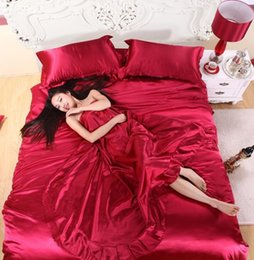 Wholesale Modern Flats - 100% pure satin silk bedding set,Home Textile King size bed set,bedclothes,duvet cover flat sheet pillowcases Wholesale
