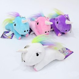 Wholesale Rainbow Plush - Kawaii Cute Unicorn Plush Pendant Toys Soft Stuffed Animal Dolls with Key Chain Kids Toys Gifts rainbow Unicorn Pendant keyring LJJK750