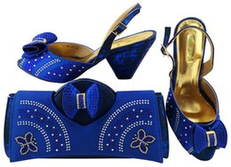 Wholesale Ladies Royal Blue Dress Shoes - Hot sale royal blue shoes match bags with rhinestones bowtie series african lady shoes and handbag set for dress MM1041,heel 7.5CM