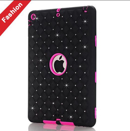 Wholesale Tablet Hard Silicon Case - For Ipad 2 3 4 5 Air Tablet 3D Rhinestone Hard PC + Silicone Case Diamond Bling Starfall Hybrid 3 in 1 Shockproof Colorful Robot Skin Luxury