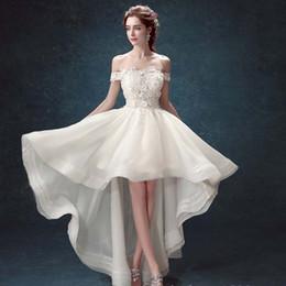 Wholesale Floral Skirt Models - C.V Cap Sleeve Sweetheart Asymmetric Short Wedding Dresses 2017 Hand Made Flower Beaded Organza Low-High Beach Wedding Dresses W0087