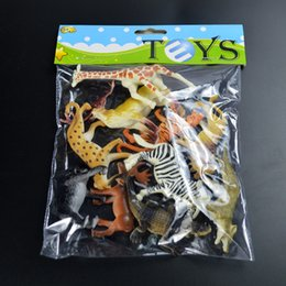 Wholesale Toy Wild Animals Plastic - model toy Small wild animal figures mini plastic toy for kid boy wild animal model set cheap jungle wildlife miniature cartoon figurine
