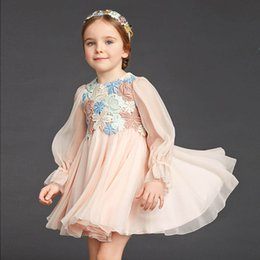 Wholesale Printed Princess Dresses Holiday - Embroidered Lace Flower Girls Dress Winter 2016 Children Clothing Kids Dress for Princess Holiday Party Wedding Toddler Autumn