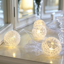 Wholesale Lace Hanging Ball Wholesale - Wholesale- Romantic led string light with white lace ball hanging light, powered by AA battery,2 3 4 meter option for wedding decoration