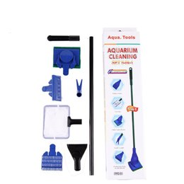 Wholesale Cleaning Suit - Aquarium Cleaning Brush Suit 5 In 1 Multi Function Long Handle Plastic Material Family Necessity Window Clean Tool Hot Sale 8bb J R