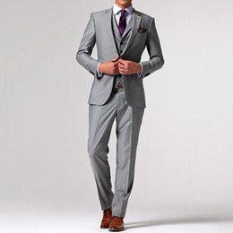 Wholesale Terno Noivo Fit - New Gray Wedding Suits For Men Custom Made Tailor Made Grey Groom Suit Terno Noivo Mens 3 Piece Suit Bespoke Suit Men Wedding Suit