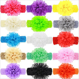 Wholesale Crochet Wide Headband Flower - Baby Girls Headband Big Chiffon Flowers Kids Children Bow Hair Accessories Wide Elastic crochet Hollow headbands newborn hairbands KHA176