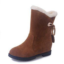 Wholesale Wholesale Wedge Boots - Wholesale- SaraIris 2016 Vintage Tassel Mid Calf Boots Women Warm Winter Woman Shoes Slip On Knot Snow Boots