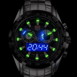 Wholesale Tvg Wristwatches - Upgraded version Luminous TVG City Hunter Led Quartz Wristwatch Men Fashion Sapphire Waterproof Dual Time man Military Watches