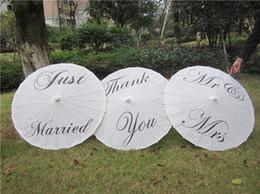 "Wholesale Wedding Just Married - 2016 new Wedding umbrella craft Paper umbrella Diameter 42cm Three Style ""Thank you"" ""Just married"" ""MR&MRS"" Party Decoration Umbrella"