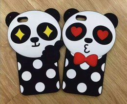 "Wholesale Case Iphone Panda Pink - New 3D silicone case Cute Cartoon Wave point panda Soft Silicone Cover Case For iPhone 5 5S SE 6 6S 4.7'' 6 6S plus 5.5"" case"