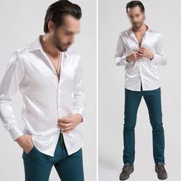 Wholesale Silk White Shirt Wedding - Wholesale-New Hot Arrival Custom Made Any Colors Elastic Silk like Satin Men Wedding Shirt Groom Shirts Wear Bridegroom Slik Shirt For Men
