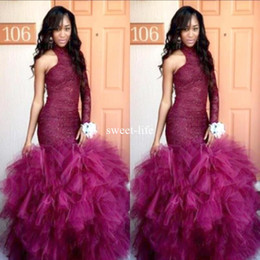 Wholesale Puffy Mermaid Dresses - New Lace Vintage Puffy Tulle 2017 Mermaid Tulle Prom Dresses One Shoulder Formal Party Gown Robe De Soiree Long Sleeves Evening Dresses