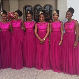 Wholesale long prom dress fuschia - Nigerian Sequins Bridesmaid Dresses Fuschia Tulle Long Prom Wedding Party Guest Dresses 2016 African Custom Made Evening Gowns Bateau Neck