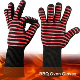 Wholesale Silicone Oven Gloves Fingers - BBQ Oven Gloves Best Versatile Heat Resistant Grill Gloves Insulated Silicone Oven Mitts For Grilling Waterproof Full Finger.