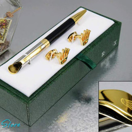 Wholesale Metal Office Gift - Luxury High quality Unique design rx pen stationery supplies Ballpoint Pen , cufflink , gift green box sets