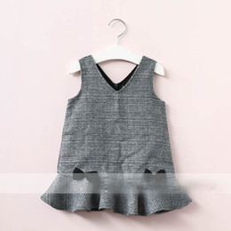 Wholesale Girls Brown Striped Dress - Everweekend Girls Bow Plaid Ruffles Dress Sweet Baby Gray and Brown Color Clothes Princess Western Fashion Autumn Party Clothing