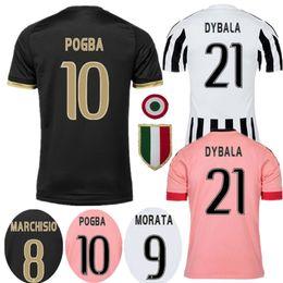 Wholesale Soccer Jersey Pink - 2015 2016 Old Away Pink DYBALA Soccer Jerseys CHIELLINI POGBA MARCHISIO Pirlo Higuain Juv jerseys Coppa Italia 15 16 Football Jersey Shirts