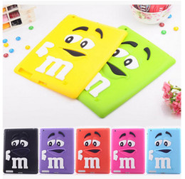 Wholesale Ipad Silicone Covers - New 3D Cartoon Silicone Case for IPAD MINI IPAD 2 3 4 CUte M&M Chocolate Rainbow Bean Soft Rubber Back Cover Skin for Table Tab IPAD