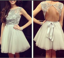 Wholesale Sliver Dress Cocktail - Tulle bateau short sleeve sliver backless sashes bow beaded mini prom graduation cocktail dresses evening gowns plus size party short guest
