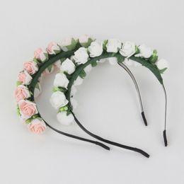 Wholesale Princess Wedding Decor - 2016 New Flower Garland Floral Bride Headband Hairband Wedding Party Prom Festival Decor Princess Floral Wreath Headpiece