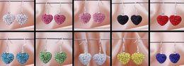 Wholesale Crystal Chandeliers China - new shamballa hotsale new Rhinestone Mix Colors white disco Ball beads clay heart drop Dangle Shamballal Crystal Earrings Stud women DIY