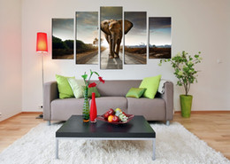 Wholesale Elephant Canvas Painting - Wholesale Wall Art Prints Canvas Elephant Painting from Digital Picture Print on Canvas Modern 5 Panel Wall Art for Home Decor