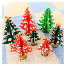 Wholesale Miniature Christmas Ornaments - DIY Wooden Christmas Tree Miniature Ornaments Wooden Tabletop Christmas Tree DIY Wooden Christmas Tree Table Decoration Home Ornament