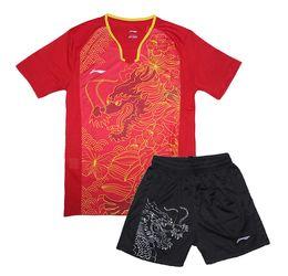 Tischkleidung online-Neue Li-Ning CHINA Team Tischtennisbekleidung Herren, Herren-Tischtennis-Trikots, Pingpong-Set, Zhang Jike Ma Long Tennis-Uniformen 1 Satz