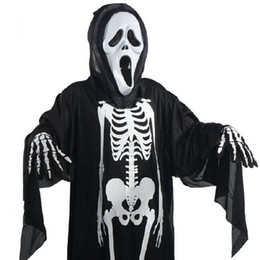 Wholesale Scary Skeleton - 2017 Halloween Ghost Skeleton Costume Skull Gloves Devil Mask Scary Costumes for Children Adult Cosplay Holiday Party Clothing LX3499