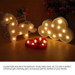 Wholesale Lamps For Wedding Table Decorations - 2017 LED Night Light Cloud Heart Unicorn 3D Lamp Table Novelty Luminaria Nightlight Children Christmas Decorations for Home