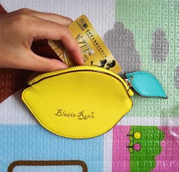 Wholesale Cute Key Pouch - Fashion Lemon Coin Purse Girls cute Fruit PU pouch Women cartoon lemon handbag key case 15*10cm