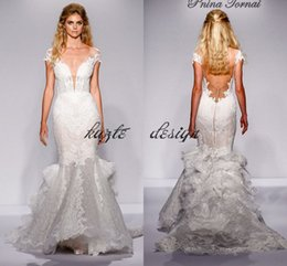 Wholesale Custom Pnina Tornai Wedding Dresses - Pnina Tornai Mermaid Ruffles Lace Wedding Dresses 2018 Modest Cap Sleeve Low Back Sexy Fishtail Princess Civil Bridal Wedding Gown