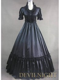 Wholesale Century Length - Can be Custom 2015 Retro Black Short Sleeves Patchwork 18th Century Gothic Victorian Lolita Dress