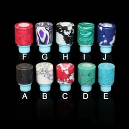 Wholesale E Cigarette Tank Base - Wholesale e-cigarettes ecigs silicone base stone drip tip jade jewelry drip tips Turquoise drip tip for ecigarettes 510 thread tanks tips