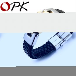 Wholesale Stainless Bracelets Men - Wholesale-OPK Black Leather Bracelet Men Charm Bangle Stainless Steel Fashion New Men Jewelry Rock Chunky Leather Men's Bracelets PH993