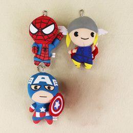Wholesale Marvel Avengers Plush - 3Pcs lot Marvel the avengers Captain America Thor Spiderman keychain keyring stuffed plush toy